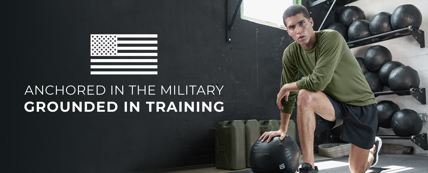 young man working out in long sleeve performance tee shirt from soffe military collection