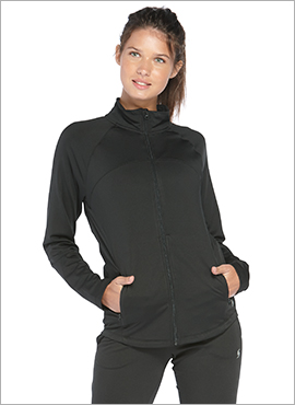 woman wearing zip up warm up jacket in black