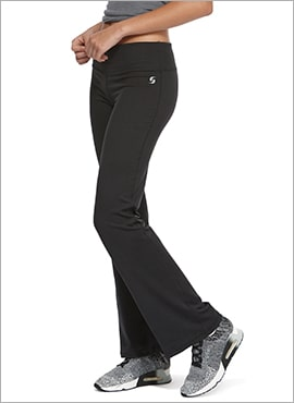 close up of woman wearing boot cut athletic pants