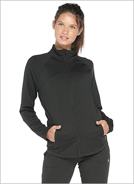 close up women wearing soffe fearless athletic jacket in black