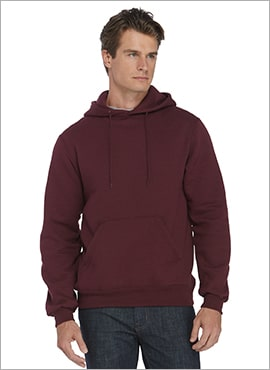 close up man wearing pullover hoodie maroon color