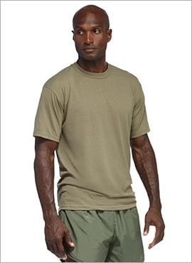 close up man wearing soffe military tee shirt