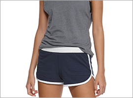 close up woman wearing soffe dolphin shorts